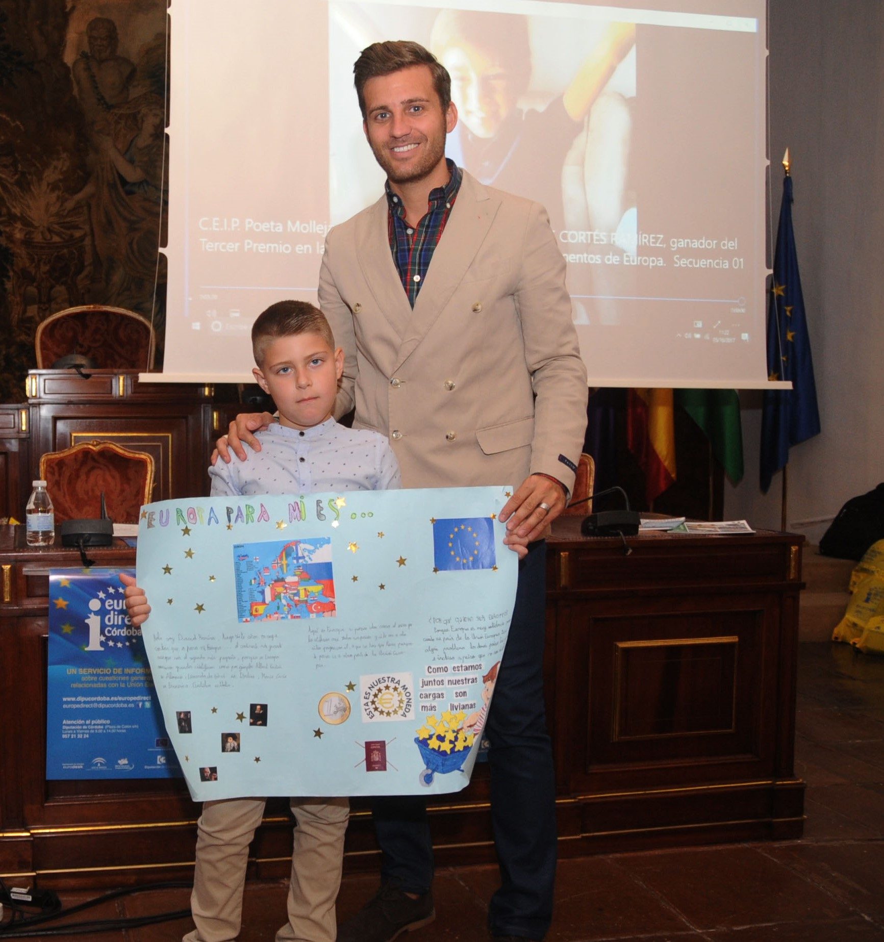 Recepción a los alumnos y profesores de los niños de Córdoba, premiados en el concurso EuropaJunior. 5 de octubre 2017.