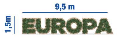 Las Instituciones europeas instalan en la Gran Vía unas letras gigantes sobre EUROPA con motivo de la Conferencia sobre el Futuro de la UE